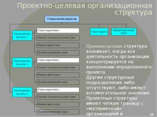 Проектно-целевая организационная структура Проектно-целевая структура возника