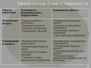 Разделение ответственности Области управления Руководитель функционального по