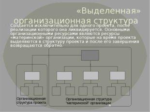 «Выделенная» организационная структура Создается исключительно для одного про