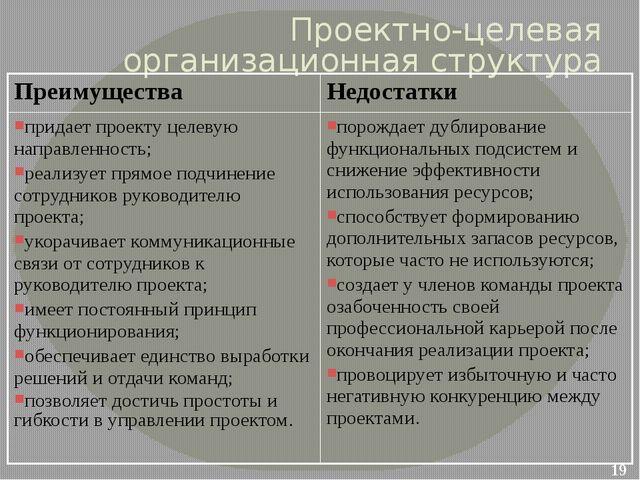 Проектно-целевая организационная структура Преимущества Недостатки придает пр...
