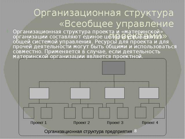 Организационная структура «Всеобщее управление проектами» Организационная стр...