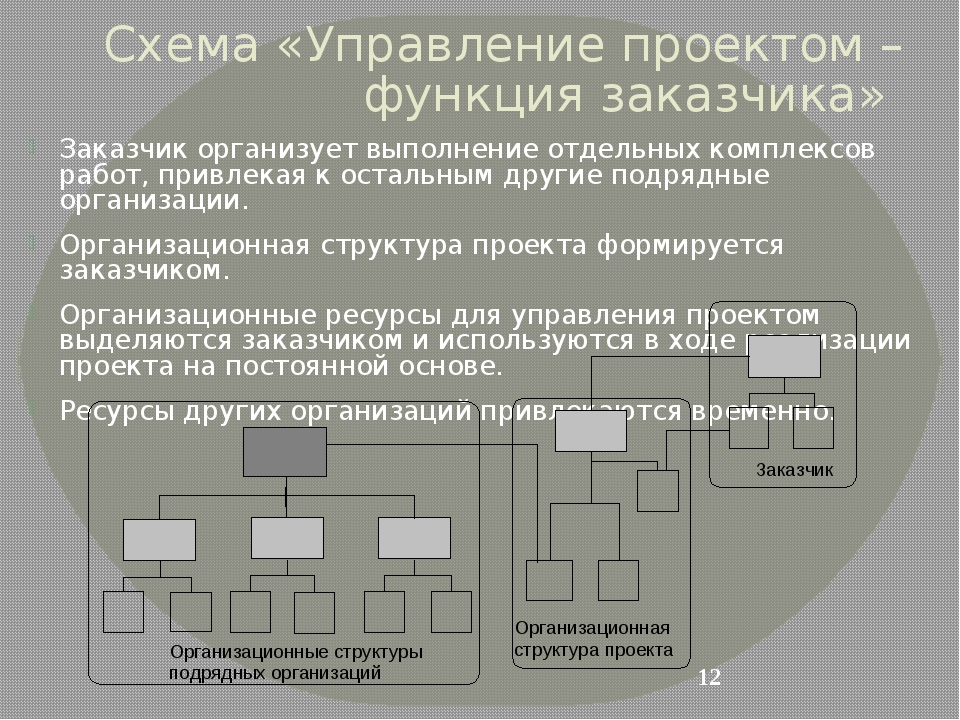 Схема «Управление проектом – функция заказчика» Заказчик организует выполнени...