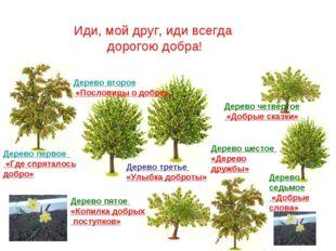 Дерево первое «Где спряталось добро» Дерево второе «Пословицы о добре» Дерево