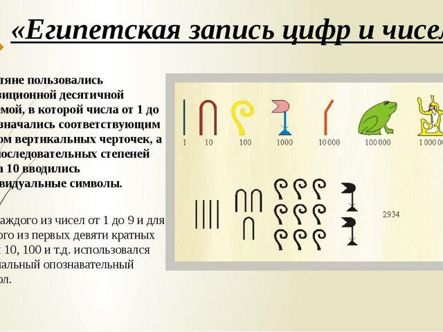 «Египетская запись цифр и чисел» Египтяне пользовались непозиционной десятичн...
