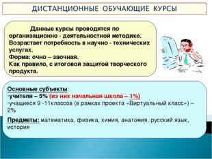Данные курсы проводятся по организационно - деятельностной методике. Возраст