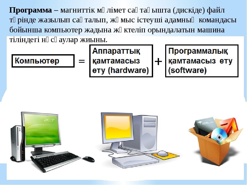 Программа – магниттік мәлімет сақтағышта (дискіде) файл түрінде жазылып сақта...