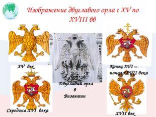 Изображение двуглавого орла с XV по XVIII вв XV век Середина XVI века Конец X