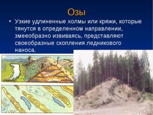 Озы Узкие удлиненные холмы или кряжи, которые тянутся в определенном направле