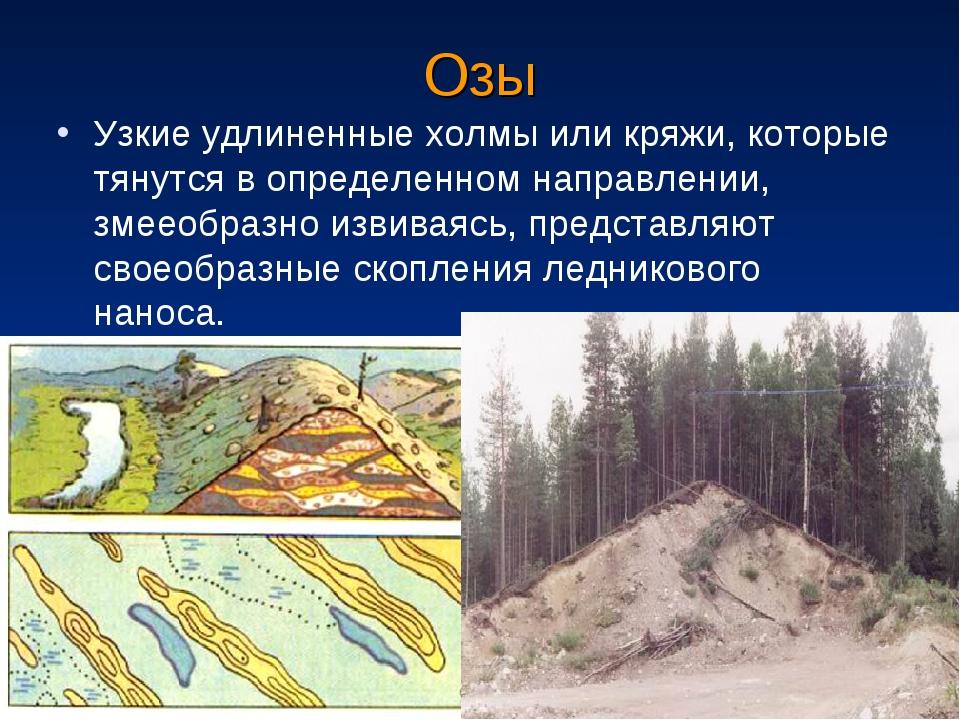 Озы Узкие удлиненные холмы или кряжи, которые тянутся в определенном направле...