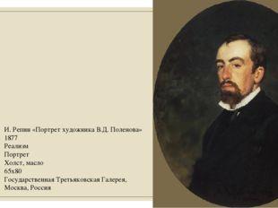 И. Репин «Портрет художника В.Д. Поленова» 1877 Реализм Портрет Холст, масло