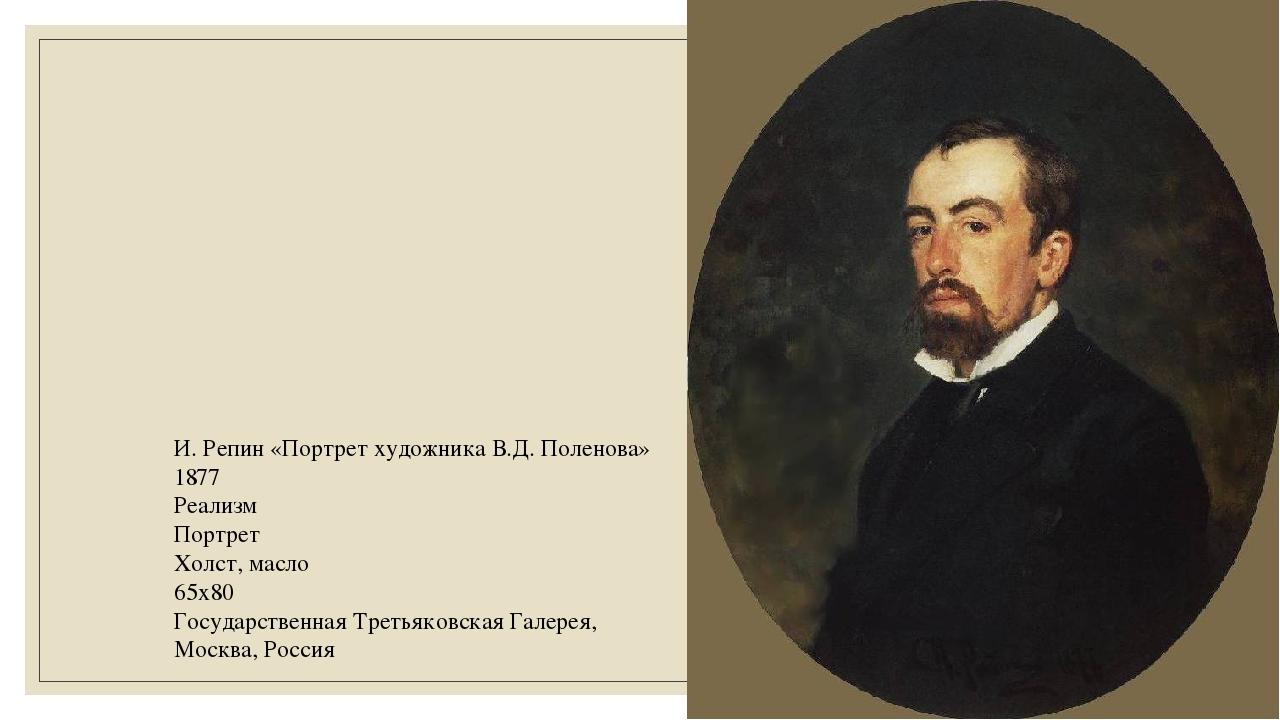 И. Репин «Портрет художника В.Д. Поленова» 1877 Реализм Портрет Холст, масло...