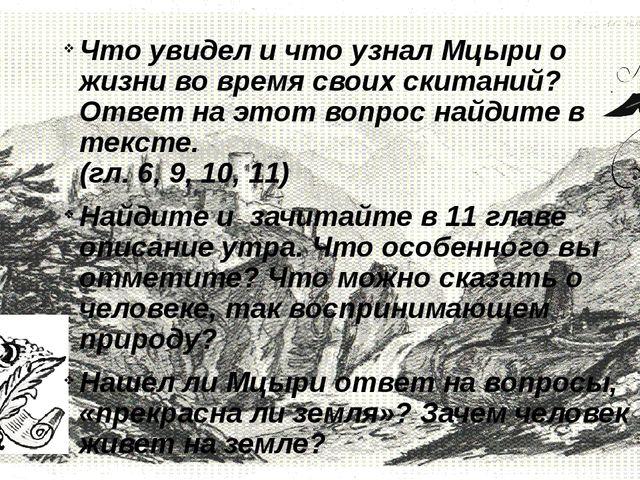 Что увидел и что узнал Мцыри о жизни во время своих скитаний? Ответ на этот...