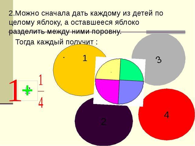 2.Можно сначала дать каждому из детей по целому яблоку, а оставшееся яблоко р...