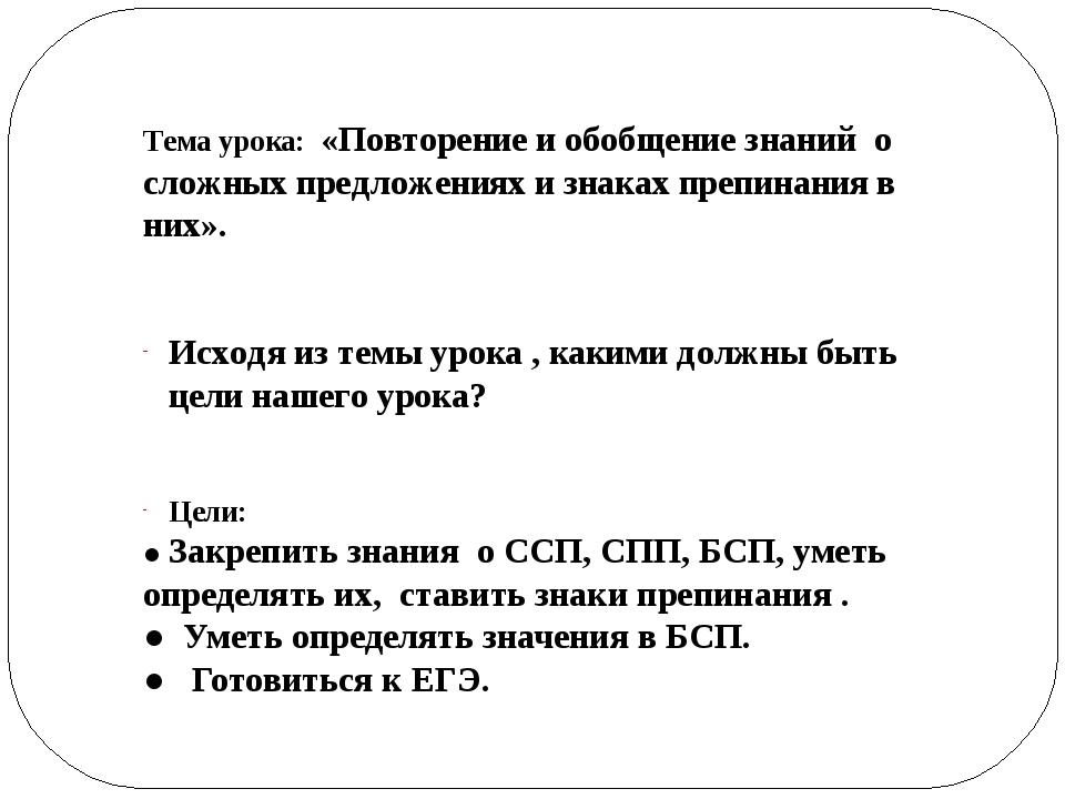 Тема урока: «Повторение и обобщение знаний о сложных предложениях и знаках п...