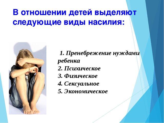 В отношении детей выделяют следующие виды насилия: 1. Пренебрежение нуждами р...