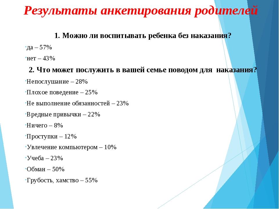 Результаты анкетирования родителей 1. Можно ли воспитывать ребенка без наказа...
