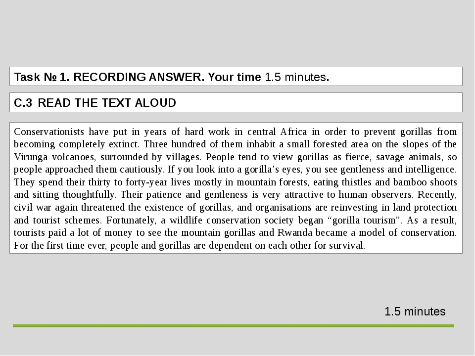 Task№ 1.RECORDING ANSWER. Your time 1.5 minutes. C.3 READ THE TEXT ALOUD 1...