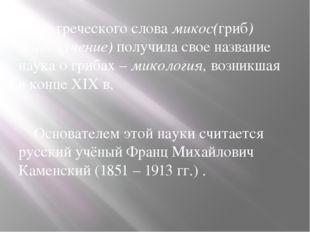 От греческого слова микос(гриб) логос (учение) получила свое название наука