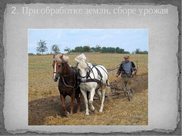 2. При обработке земли, сборе урожая