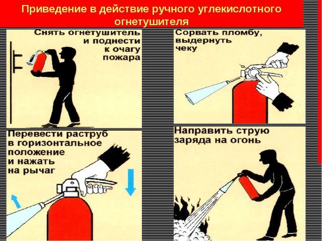 Приведение в действие ручного углекислотного огнетушителя