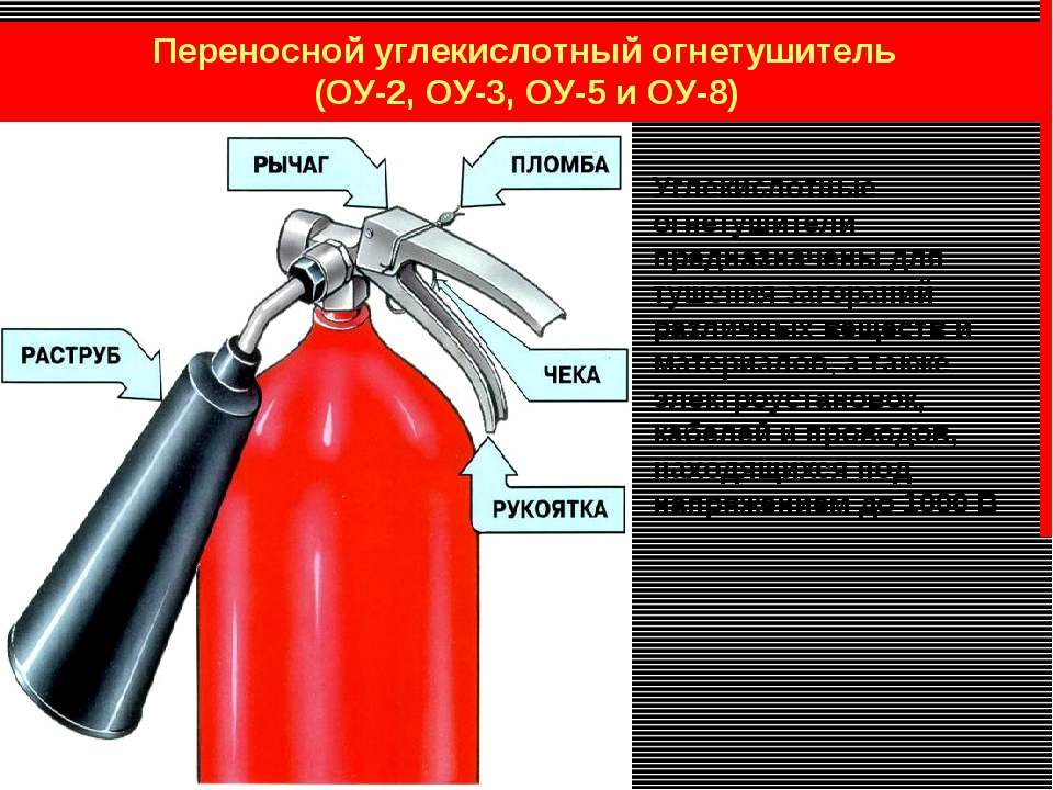 Переносной углекислотный огнетушитель (ОУ-2, ОУ-3, ОУ-5 и ОУ-8) Углекислотны...