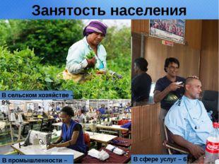 Занятость населения В сельском хозяйстве – 9% В промышленности – 30% В сфере