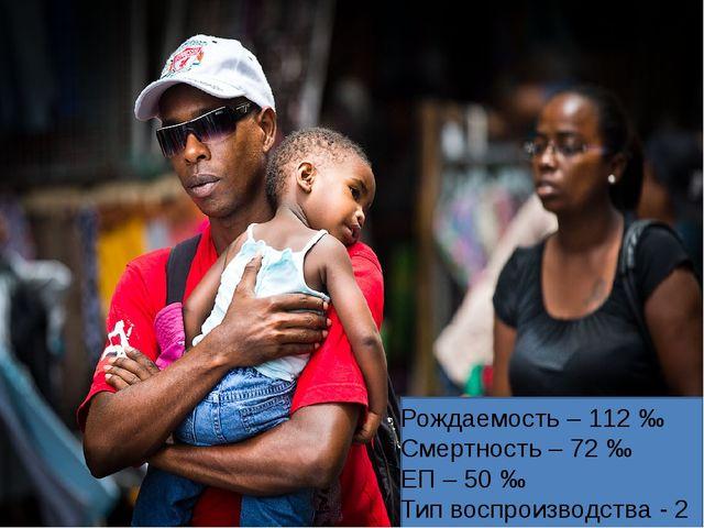 Рождаемость – 112 ‰ Смертность – 72 ‰ ЕП – 50 ‰ Тип воспроизводства - 2