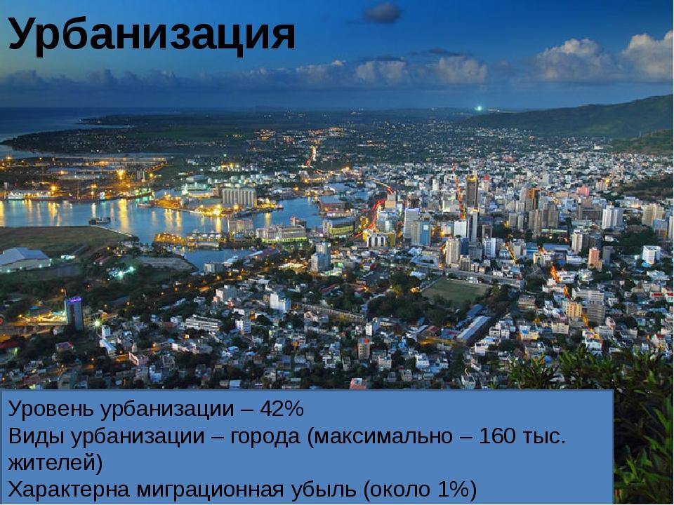 Уровень урбанизации – 42% Виды урбанизации – города (максимально – 160 тыс....