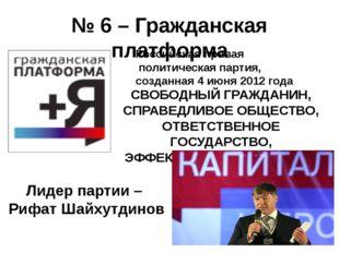 № 6 – Гражданская платформа СВОБОДНЫЙ ГРАЖДАНИН, СПРАВЕДЛИВОЕ ОБЩЕСТВО, ОТВЕТ