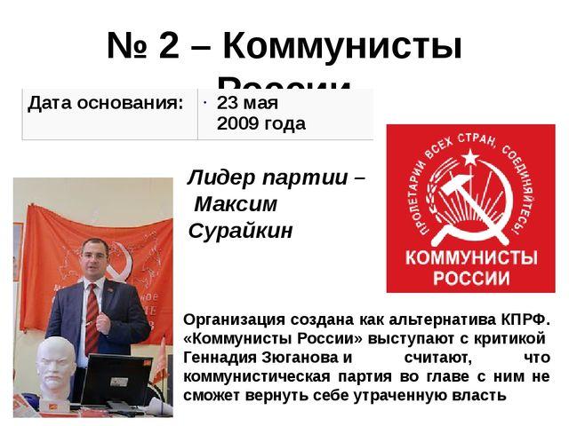 № 2 – Коммунисты России Организация создана как альтернативаКПРФ. «Коммунист...