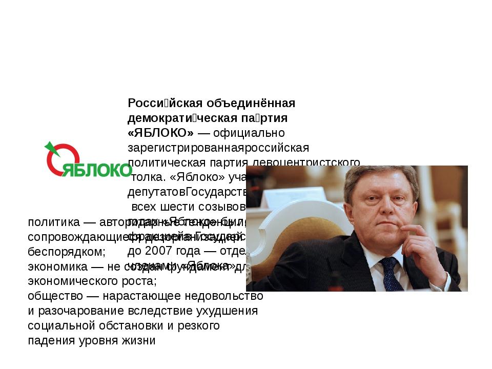 Росси́йская объединённая демократи́ческая па́ртия «ЯБЛОКО»—официально заре...