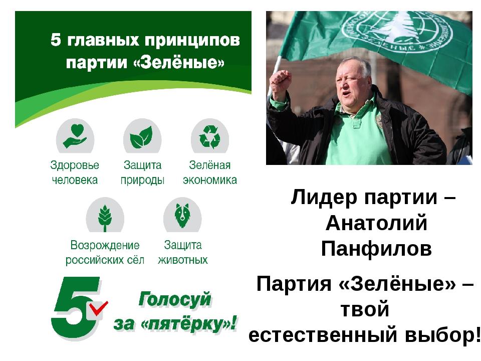 Лидер партии – Анатолий Панфилов Партия «Зелёные» – твой естественный выбор!