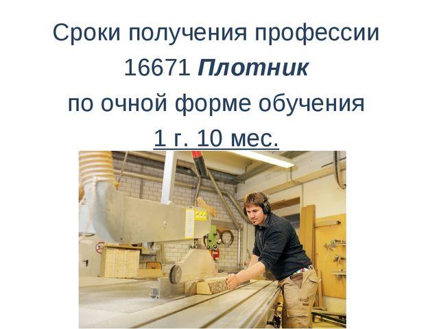 Сроки получения профессии 16671 Плотник поочной форме обучения 1г. 10 мес.