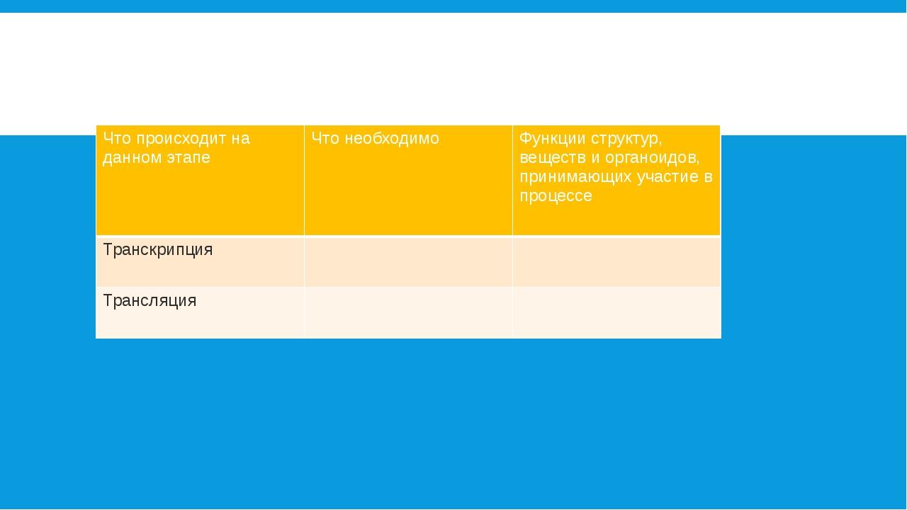 Заполните таблицу: Что происходит на данном этапе Что необходимо Функции стру...