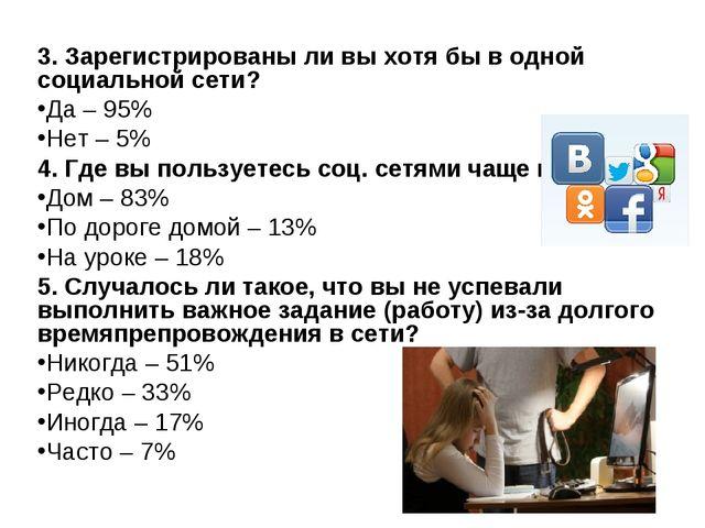 3. Зарегистрированы ли вы хотя бы в одной социальной сети? Да – 95% Нет – 5%...
