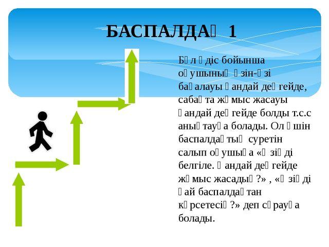 БАСПАЛДАҚ 1 Бұл әдіс бойынша оқушының өзін-өзі бағалауы қандай деңгейде, саба...