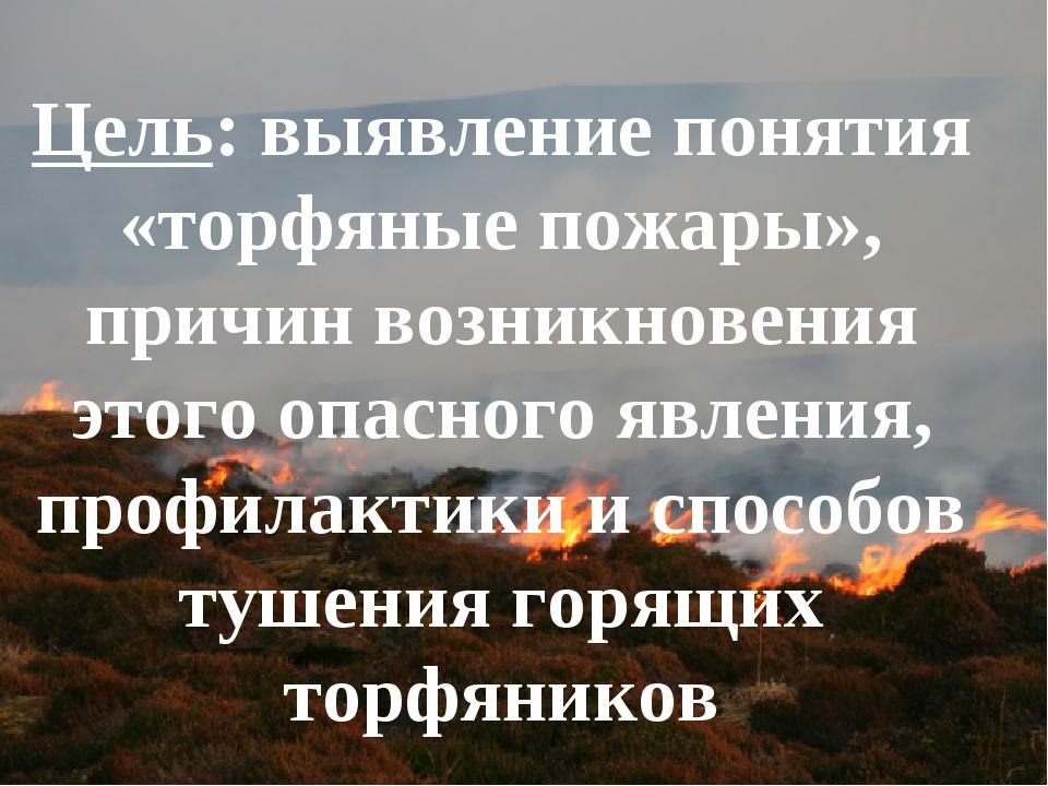 Цель: выявление понятия «торфяные пожары», причин возникновения этого опасног...