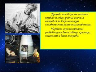 Прежде, чем в космос полетел первый человек, учёные сначала отправляли в ко