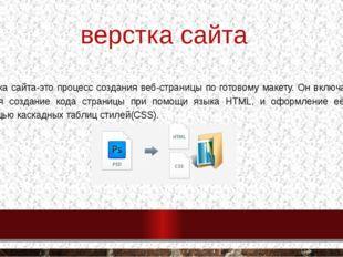 верстка сайта Верстка сайта-это процесс создания веб-страницы по готовому мак