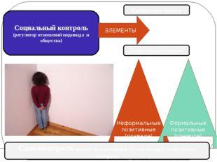 Социальный контроль (регулятор отношений индивида и общества) ЭЛЕМЕНТЫ Социал