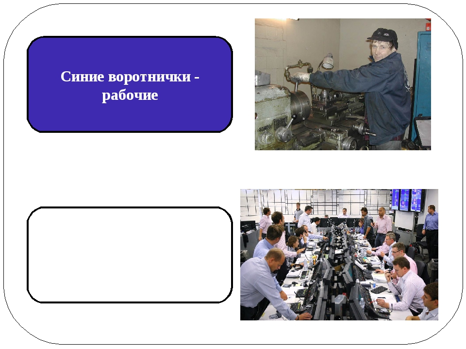 Синие воротнички - рабочие Белые воротнички - управленцы