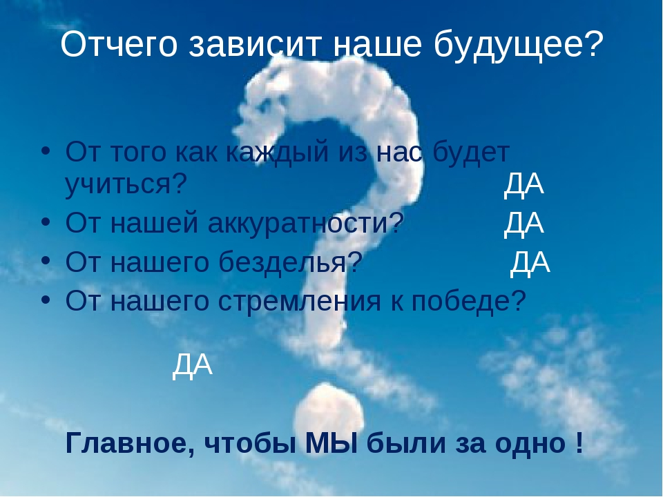 Отчего зависит наше будущее? От того как каждый из нас будет учиться?ДА...