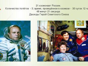 21 космонавт России. Количество полётов - 3; время, проведённое в космосе - 3