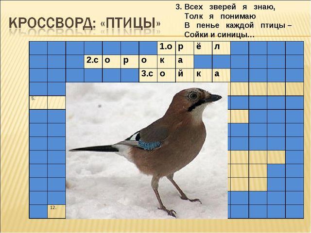 3. Всех зверей я знаю, Толк я понимаю В пенье каждой птицы – Сойки и синицы…...