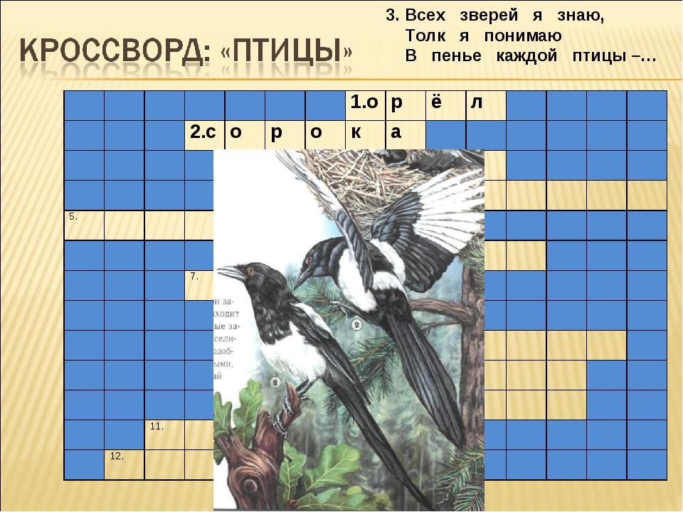 3. Всех зверей я знаю, Толк я понимаю В пенье каждой птицы –… 1.орё...