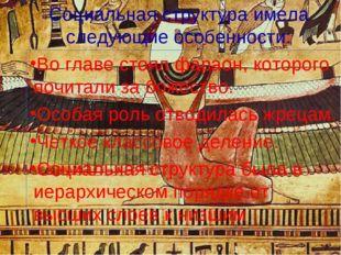Социальная структура имела следующие особенности: Во главе стоял фараон, кот