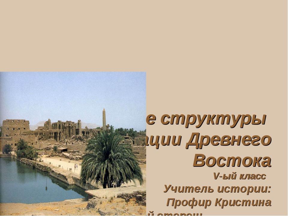 Социальные структуры Цивилизации Древнего Востока V-ый класс Учитель истории...