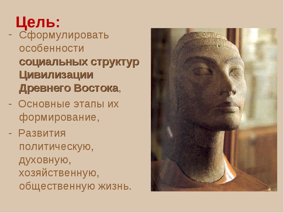 Цель: Сформулировать особенности социальных структур Цивилизации Древнего Во...