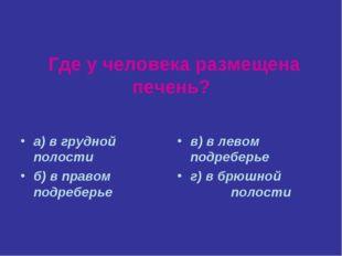 Где у человека размещена печень? а) в грудной полости б) в правом подреберье