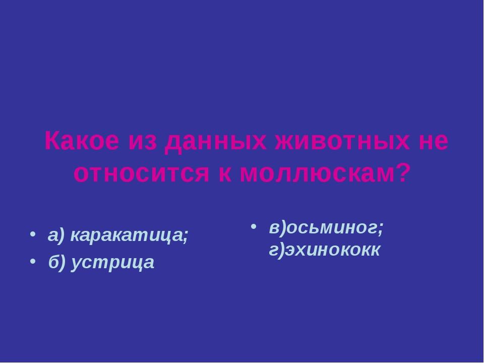Какое из данных животных не относится к моллюскам? а) каракатица; б) устрица...